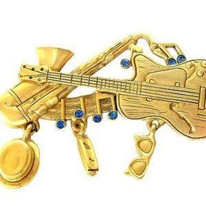 Danecraft Brooch Pin Musical Instruments Rhineston